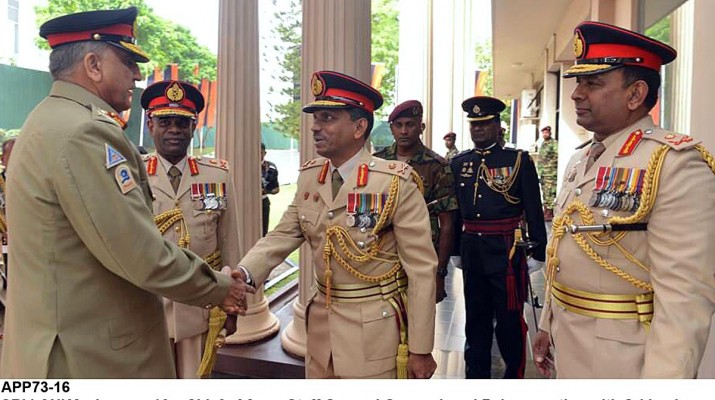 APP73-16 SRI LANKA: January 16 – Chief of Army Staff General Qamar Javed Bajwa meeting with Sri Lankan military leadership including the Chief of Defence Staff, the Chiefs of all three services. APP