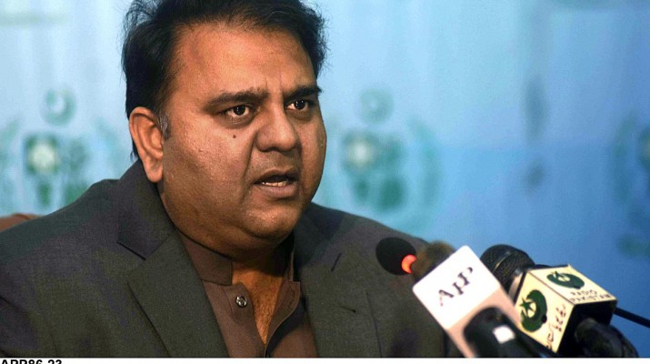 APP86-23 ISLAMABAD: November 23 – Federal Minister for Information and Broadcasting Chaudhry Fawad Hussain addressing a press conference. APP photo by Irfan Mahmood