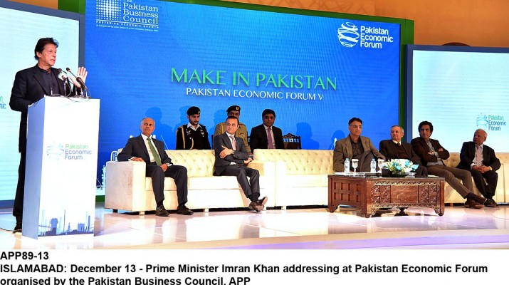 APP89-13 ISLAMABAD: December 13 - Prime Minister Imran Khan addressing at Pakistan Economic Forum organised by the Pakistan Business Council. APP